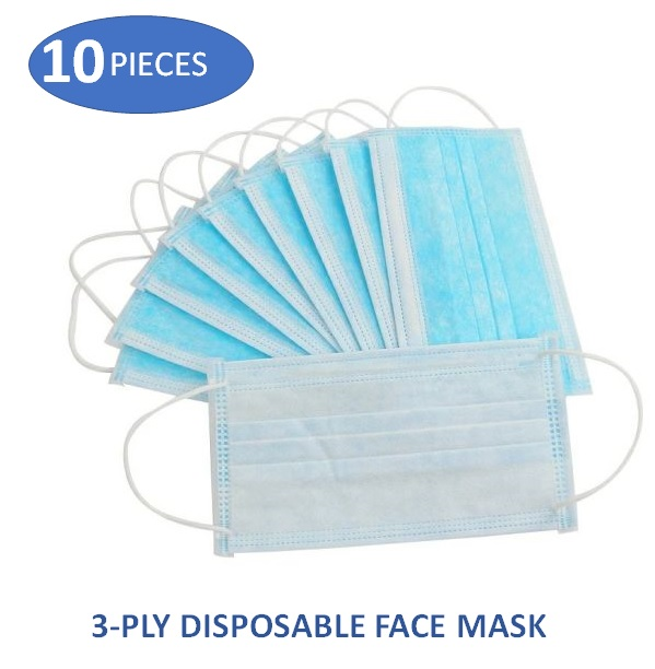 10 PIECE EAR LOOP 3-PLY DISPOSABLE PROTECTIVE FACE MASK