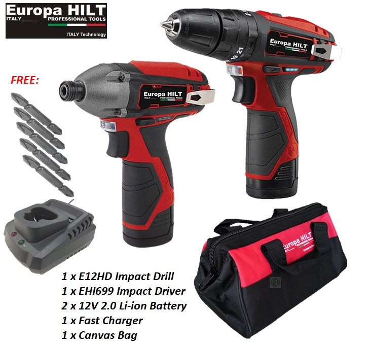 EUROPA HILT 12V IMPACT COMBO : IMPACT DRILL & IMPACT DRIVER WITH 5 X PH2 65MM SCREWDRIVER BITS