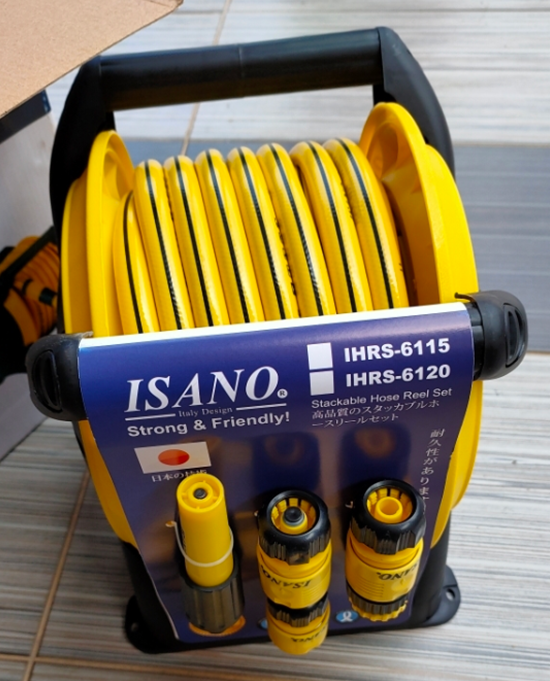 """ISANO 1/2"""" HOSE REEL SET WITH 15M HOSE AND ACCESSORIES"""