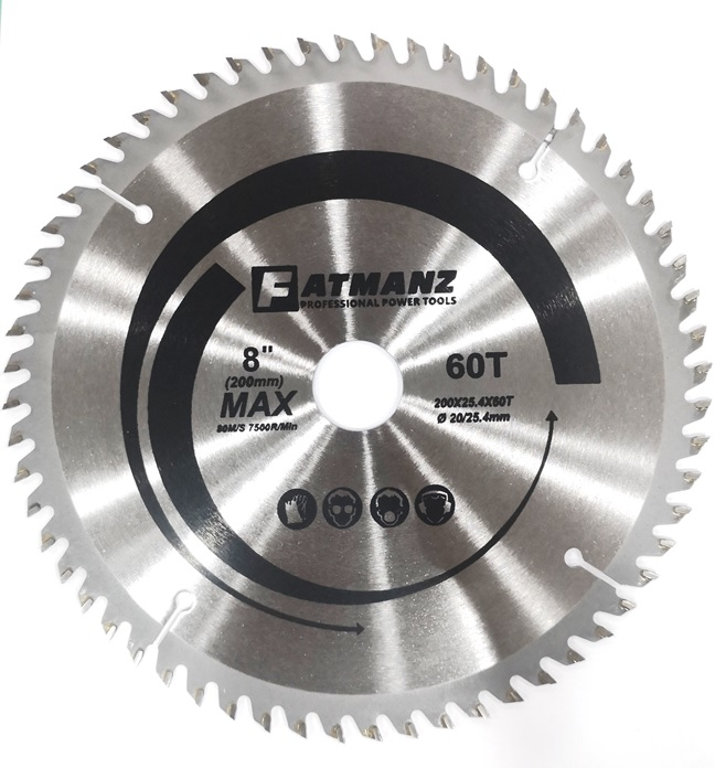 FATMANZ TCT SAW BLADE 8 INCH 200MM X 25.4 X 60T BORE SIZE 20/25.4MM ( FOR WOOD )