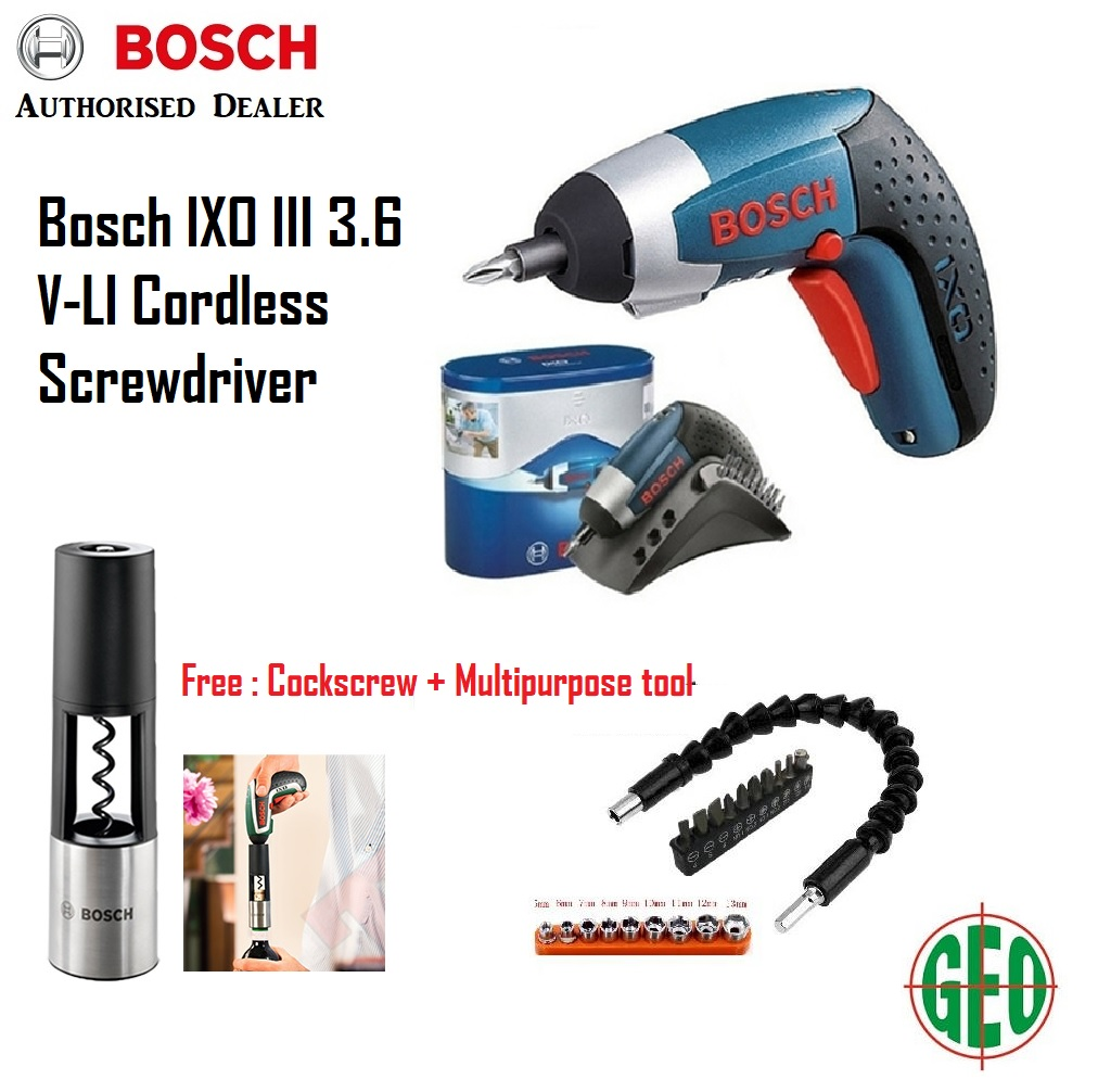 bosch ixo iii 3.6 v li-ion cordless screwdriver with free corkscrew