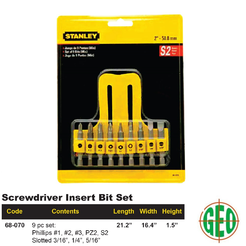STANLEY 68-070 SCREWDRIVER INSERT BIT 9-PCS SET