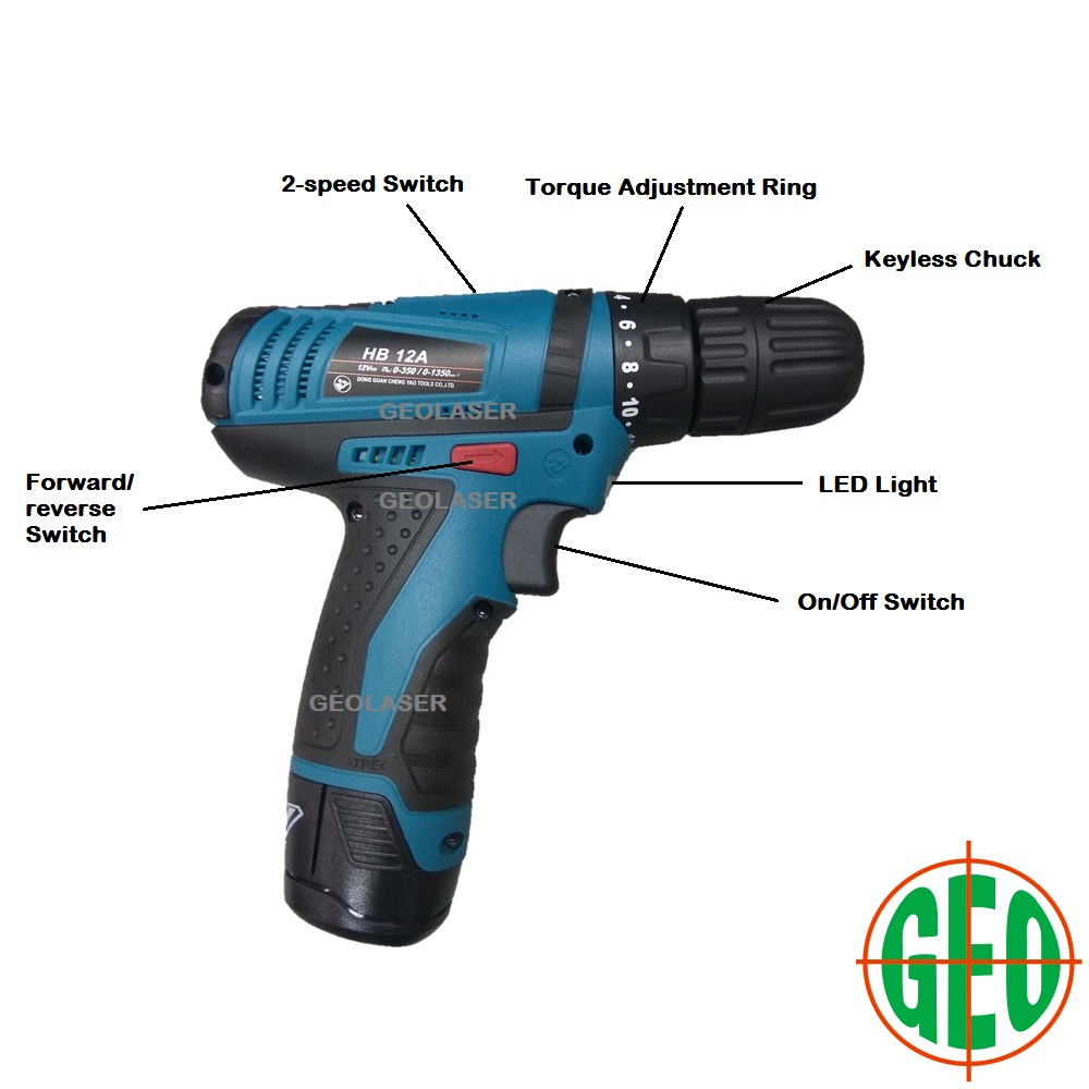 BOCCS 12V Cordless Drill Drill c/w 2 X Bosch compatible Battery & 1 charger