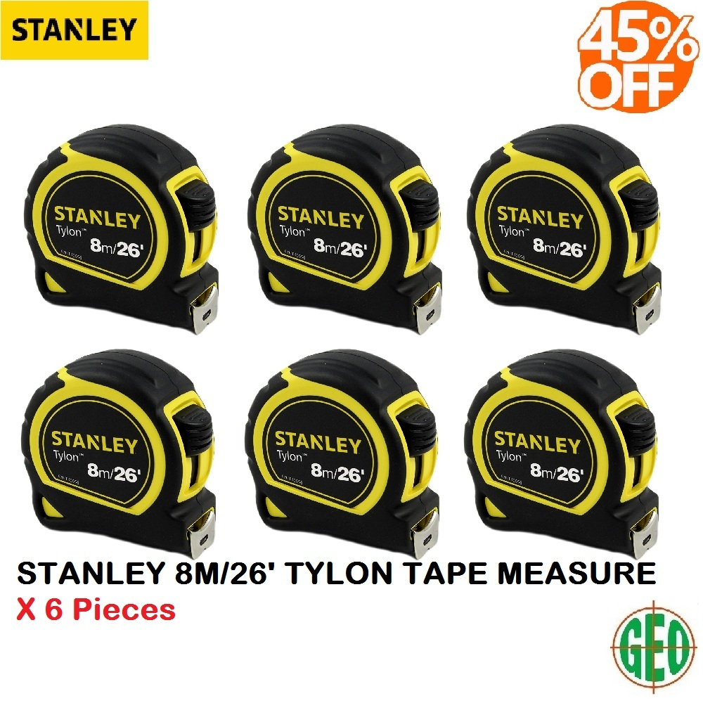 6 PIECES STANLEY TYLON30-656 8m/26ft Tape Rule