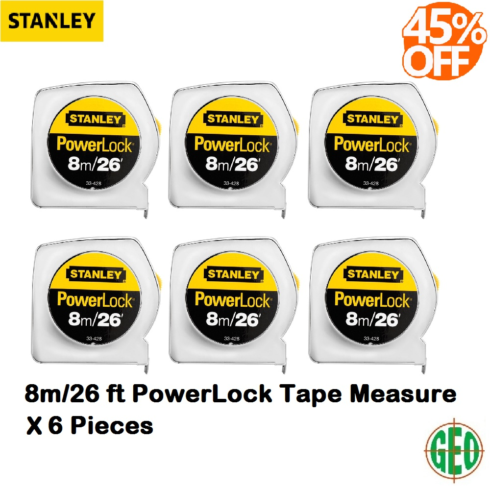6 PIECES STANLEY 33-428 8M/26FT POWERLOCK MEASUREMENT TAPE ABS CASE YELLOW
