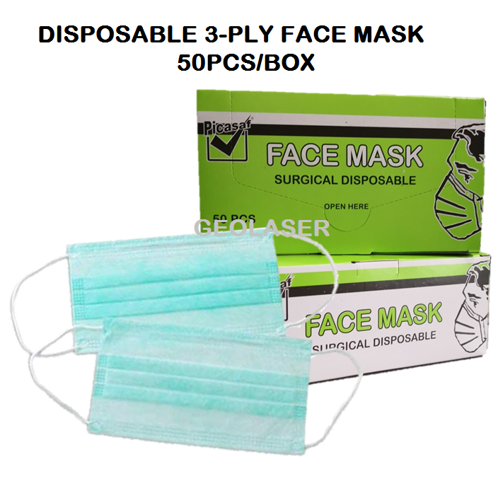 SURGICAL DISPOSABLE 3-PLY FACE MASK 50PCS/BOX [ GEOLASER ]